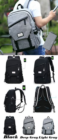 Leisure Gray Large Waterproof Canvas School Bag Travel USB Interface  Student Backpack for big sale! d9480c3bd06f5