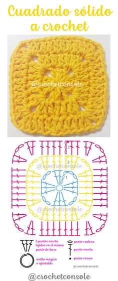Festes Oma-Häkelquadrat - Proyectos que debo intentar - Crochet Granny, Knit Crochet, Shape Chart, Crochet For Beginners, Crochet Projects, Crochet Patterns, Crochet Ideas, Sewing, Knitting