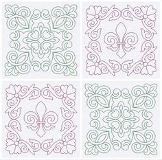 Quilt Blocks Quilting Trapunto Fleur de Lis by EmbroideryByLada
