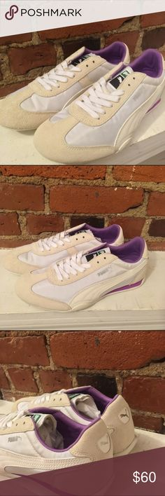Puma suede white + purple runners NWT Puma running shoes in this dope super-feminine colorway of off-white and lavender. Still in the box, super comfy everyday shoes when you're sneaker obsession gets past gym time. Box included. Puma Shoes Sneakers