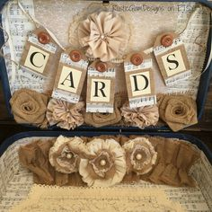 Vintage Suitcase Wedding Card Holder Rustic by RusticGlamDesigns