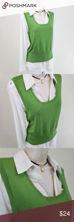 NWT CAbi green sweater vest NWT sleeveless scoop crew neck sweater vest in parsley green, by Carol Anderson for CAbi.  Style 348.  Bust 17.5 / length 22 inches (unstretched).  55% rayon, 35% cotton, 20% nylon. CAbi Sweaters