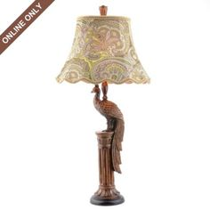 I like the lampshade!!! Not so much the Peacock Table Lamp #kirklands #animalinstincts