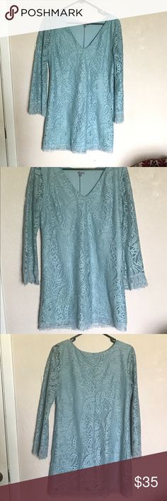 "Light blue size L Lacey shift dress Fits medium to Large. Shift style dress. Above the knee, depending on height, I'm 5'8"" but it is a short dress. Made me happy during holidays, give it a good home please Charlotte Russe Dresses Mini"