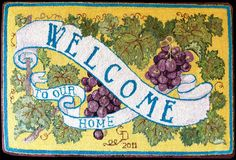 Although the use of welcome mats was practical--to clean one's feet before going farther into the house--these mats were the first object seen upon entering, and when visiting a home, a first impression set the mood. Welcome Mats, Traditional Rugs, Rug Hooking, Nova Scotia, Crafts, Painting, Canada, Rug Ideas, Penny Rugs