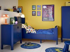 ikea for fans of blue and contemporary too_a childrens room with a blue extendable bed with matching chest of drawers and wardrobe rustic ikea kids rooms for home Ikea Childrens Bedroom, Ikea Bedroom, Blue Bedroom, Bedroom Decor, Bed Ikea, Bedroom Ideas, Yellow Kids Rooms, Cama Ikea, Kid Spaces