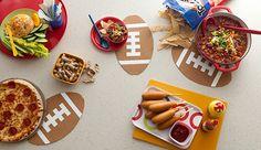 Football trivets made from cork shelf liner - Super Bowl party idea