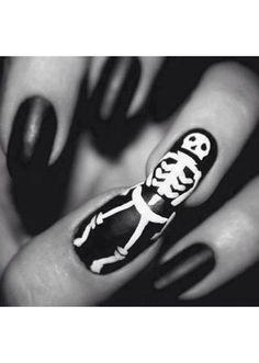 Halloween nails! Skeleton nail art
