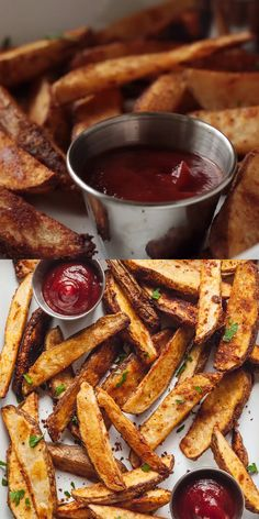 Oven baked potato wedges give you crispy homemade fries without frying! These are the perfect side for summer burgers and sandwiches. Baked Potato Wedges Oven, Homemade Potato Wedges, Oven Baked Fries, Fries In The Oven, Baked Potato Fries, Homemade Fries In Oven, Best Oven Baked Potatoes, Crispy Potatoes In Oven, Oven Baked Burgers