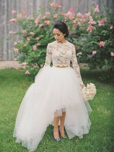 High Low Lace Wedding Dress High Neck Long Sleeves Tulle Layer Two Piece