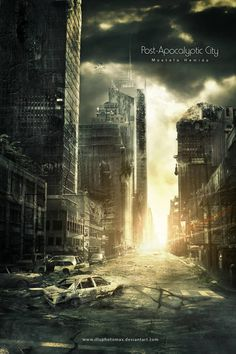 Post-Apocalyptic City - Landscape/ Scenery Concept Programs: I hope you… Landscape Concept, City Landscape, Fantasy Landscape, Apocalypse Landscape, Apocalypse Art, Photomontage, Cyberpunk, Post Apocalyptic City, Between Two Worlds