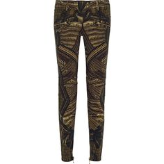 Balmain Printed mid-rise skinny jeans ($790) ❤ liked on Polyvore featuring jeans, pants, army green, colorful skinny jeans, balmain jeans, balmain, 5 pocket jeans e olive skinny jeans