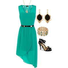 kelli closet, fashion outfits, dress fashion, green dress, polyvore, sun dresses high low, modest chic