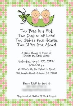 "Twin Baby Shower Invitation - LOVE the ""two peas in a pod"" theme... VERY CUTE!!!"