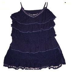 Navy blue ruffle lace v neck tank top Aeropostale Cute lace detailing white flattering ruffles Aeropostale Tops Tank Tops