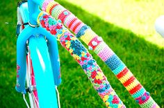 Yarn bombed bike! on Greedy for Color by Kate