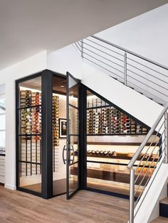 Built-in wine cellar wine storage under the stairs, genius staircase design idea. - Built-in wine cellar wine storage under the stairs, genius staircase design idea! Most staircases ar - Stair Storage, Wine Storage, Storage Ideas, Closet Storage, Storage Shelving, Basement Storage, Cupboard Storage, Storage Room, Kitchen Storage