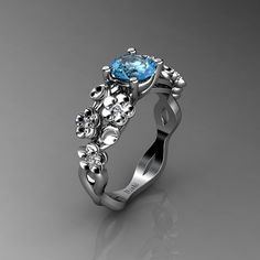 Nature Inspired 14K White Gold 1.0 Ct Topaz Diamond Floral Engagement Ring R1022-14KWGDT