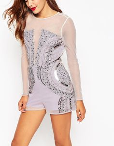 Image 3 of ASOS Embellished Playsuit in Winter Pastel