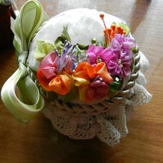 I ❤ ribbon embroidery . . .   (Translated) Another Casket? But can also be used as a needle bar (pin cushion). Tape Company Majestic. Satin ribbon bow. Beads, silk cord, velvet. Gallery.ru
