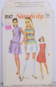 Vintage Simplicity Pattern Size 14 #8147 Pant-dress or Pant-jumper 1969 UNCUT