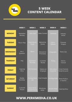 Free Printable 5 Week Content Calendar for Business and Bloggers  Digital Media Marketing Agency Content Marketing Tools, Marketing Goals, Marketing Software, Social Media Content, Marketing Strategies, Marketing Ideas, Bill Gates, Digital Media Marketing, Instagram Marketing Tips