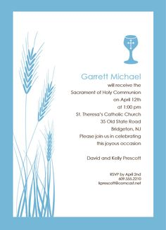 Wheat and Chalice, First Communion Invitations, Communion Invitations, First Holy Communion Invitations. $10.00, via Etsy.