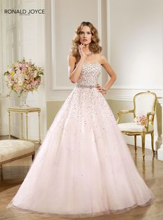 Stunningly Gorgeous  strapless straight neckline fitted bodice with silver metallice natural waistline bridal belted waistband full tulle skirt ballgown/ball gown wedding dress/gown*Sparkling|Dazzle|Dazzling|Glitzy|Glamorous|Shimmer|Glimmer|Shiny|Shine|Flashy|Sparkles|Glitzy|Glamorous|Bejeweled|Bling|Glittered|Sequins|Sequined|Rhinestones|Diamantes|Jewels|Jeweled|Crystals|Beaded|Beading|Metallic|Silver|Detailing|Accents|Accented|Embellishments|Embroidered|Embroidery by Ronald Joyce n 67026