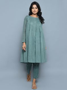 Size Chart (In inches) - These are garment measurements. Length of kurta is 40 inches, Length of pants is 37 inches. S - Chest : 32, Waist : 30, Shoulder : 15,