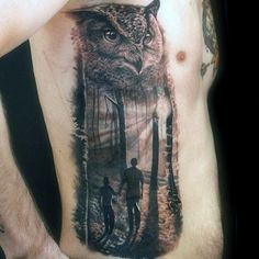 Owl With Couple Walking In Forest Realistic Rib Cage Side Tattoos For Guys