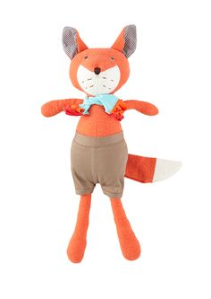 Reginald, the friendly fox is safe for all little ones because he's embroidered and super soft. He's from the woodland world of Hazel Village.
