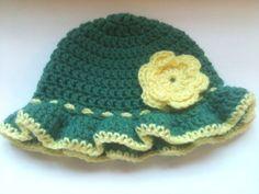 Crochet Baby Girl Hat Sunhat Ruffle Brim with by jjcrochetnteach, $15.00