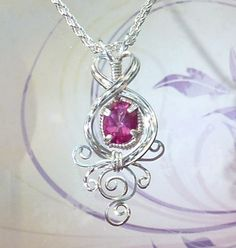 FREE SHIPPING Delicate Oval Pink Sapphire Pendant Wire Wrapped Jewelry Handmade in SIlver by EarthArtsNW on Etsy https://www.etsy.com/listing/212891398/free-shipping-delicate-oval-pink