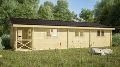 THREE BED TYPE B LOG CABIN x Free shingle roof tiles, damp proof membrane and free floor insulation. Delivered by loghouse.ie Call us today! Log Cabins For Sale, Small Log Cabin, Log Cabin Kits, Cabins In The Woods, Types Of Beds, Types Of Houses, Log Cabin Exterior, Floor Insulation, Cost Saving