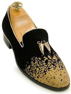 New Mens Fashion Casual Dress Glitter Gold Color Point Shoes Party ...
