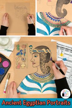Learn art history while creating Ancient Egyptian portrait projects for kids. Fill up your middle school art sub plan folder with low-prep painting and drawing art lessons that are easy to implement Ancient Egypt Art For Kids, Ancient Egypt Activities, Ancient Egypt Games, Art Games For Kids, Art Lessons For Kids, Art Sub Plans, 6th Grade Art, Fourth Grade, Lab