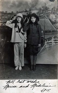 kittyinva: 1918 The Fairbanks Twins, Marion and Madeline in WWI uniforms
