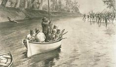 """An illustration of the explorer Charles Sturt's party being """"threatened by blacks (sic) at the junction of the Murray and Darling, 1830"""", near Wentworth, New South Wales.  National Library of Australia picture nla.pic-an9025855-1. 'Sturt's party threatened by blacks at the junction of the Murray and Darling, 1830'."""