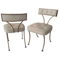 1stdibs - Pair of 1940's Gilt Iron Slipper Chairs with Brass buttons explore items from 1,700  global dealers at 1stdibs.com