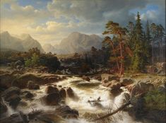 Marcus Larson (1825-1864): Dramatiskt forslandskap med figurer och kvarnbyggnader (Dramatic river landscape with figures and mills), 1854