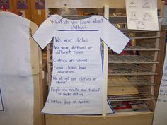 "At the beginning of a clothes study, you might ask during large group time: ""What do we know about clothes?"" and then create a chart that records the children's answers. A tip: Pause after you ask a question. Some children may need more time to process your words before they are ready to respond. Invite children who usually respond quickly to think quietly for a moment, too."