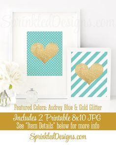 Gold Glitter Heart  Audrey Blue Striped  Set of by SprinkledDesign