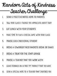 Random Acts of Kindness TEACHER CHALLENGE (Miss 5th)