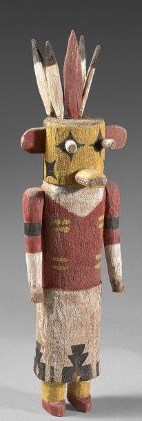 KACHINA SIKYA HOTE Cottonwood, pigments Hopi, Arizona, Sud Ouest des Etats Unis d'Amerique vers 1920 Ht 29,5 cm Reference Colton 105 - Eve - 30/05/2016