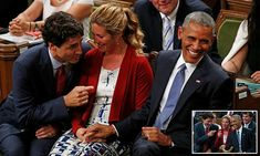 The bromance continues! Obama and Trudeau joke in Parliament   #DailyMail