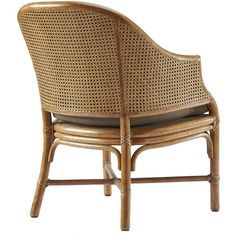 This comfortable and versatile occasional chair features McGuire's innovative double caning on the back and arm panels. The barrel-back design is created by a single curve of rattan extending from each armrest and meeting at the top rail. Curved rattan side members terminate as sabre back legs greet the front legs at the X-shaped stretcher. A substantial, loose seat cushion is supported by a reeded deck. Cane Furniture, Sectional Furniture, Traditional Dining Chairs, Outdoor Wicker Furniture, Bamboo Design, Single Chair, Rattan Sofa, Occasional Chairs, Sofa Set