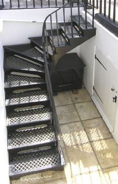 Metal Stairs that keep time, money and eliminate custom fabrication. In stock, ready to ship. metal stairs, steps, metal achievement platforms and portable stairs. Staircase Outdoor, Iron Staircase, Staircase Railings, Staircase Design, Stairways, Basement Staircase, Railing Design, Tile Stairs, Metal Stairs