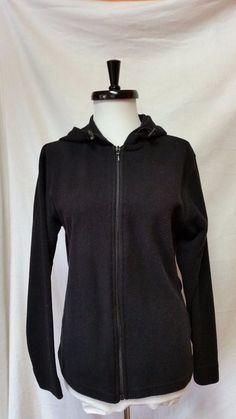 Peter Storm Fleece Hooded Sweatshirt Black Womens sz M 8 12 UK zip up Hoodie #PeterStorm #Hoodie