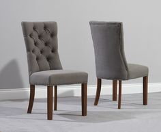 The Anais Grey Fabric Dark Oak Leg Dining Chairs At Furniture Super
