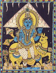 Krishna Lifting Govardhan Mountain (Kalamkari Paintings on Cotton - Unframed) Black Canvas Paintings, Indian Paintings, Art Paintings, Madhubani Art, Madhubani Painting, Krishna Art, Lord Krishna, Shiva, Phad Painting